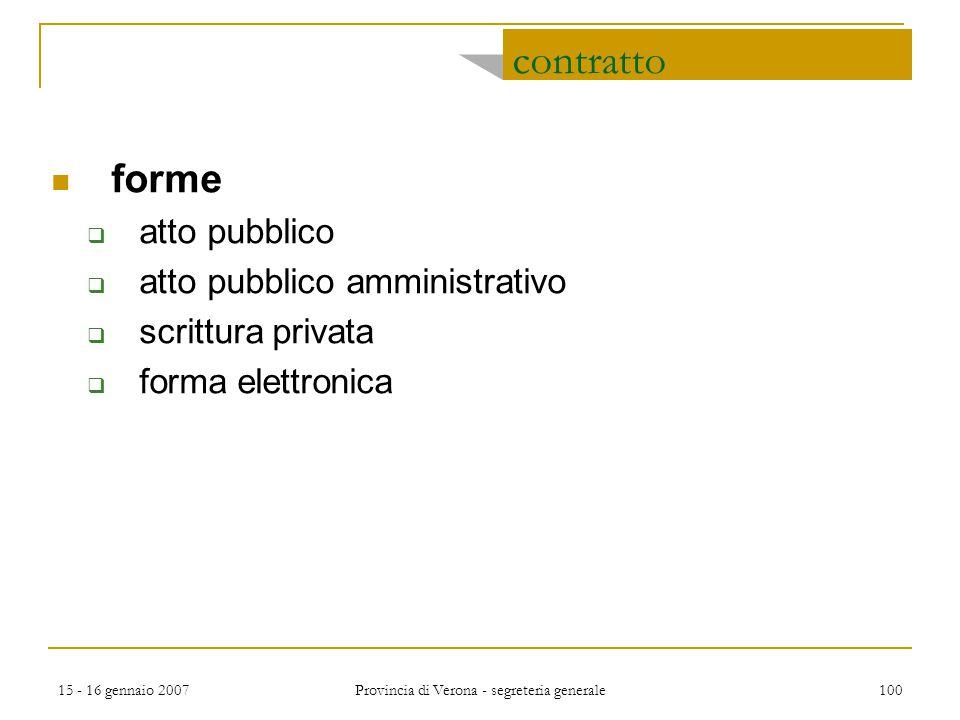 15 - 16 gennaio 2007 Provincia di Verona - segreteria generale 100 contratto forme  atto pubblico  atto pubblico amministrativo  scrittura privata