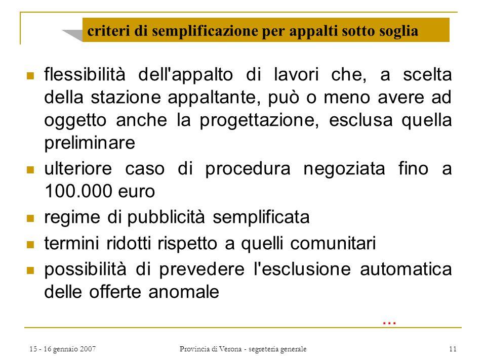 15 - 16 gennaio 2007 Provincia di Verona - segreteria generale 11 criteri di semplificazione per appalti sotto soglia flessibilità dell'appalto di lav