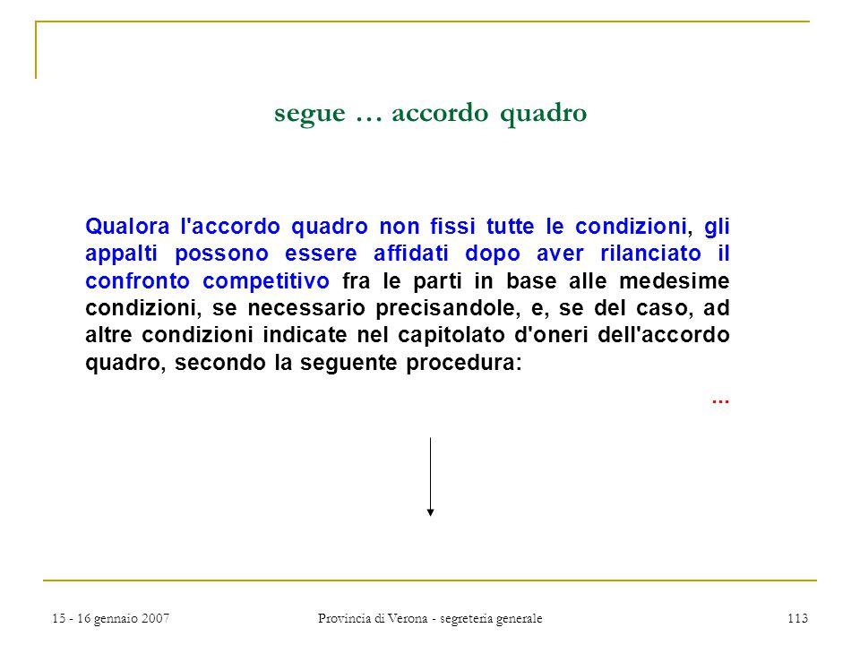 15 - 16 gennaio 2007 Provincia di Verona - segreteria generale 113 segue … accordo quadro Qualora l'accordo quadro non fissi tutte le condizioni, gli