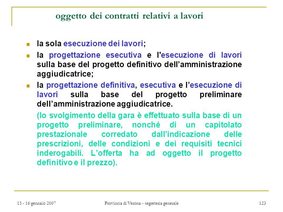15 - 16 gennaio 2007 Provincia di Verona - segreteria generale 123 oggetto dei contratti relativi a lavori la sola esecuzione dei lavori; la progettaz
