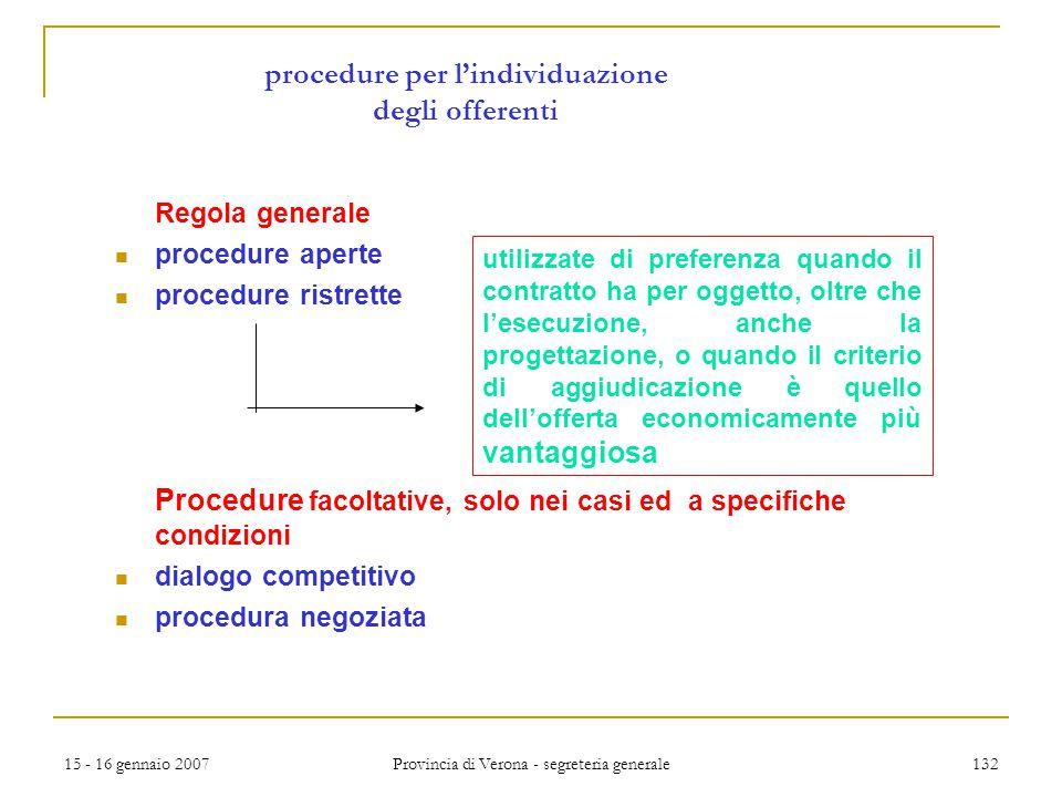 15 - 16 gennaio 2007 Provincia di Verona - segreteria generale 132 procedure per l'individuazione degli offerenti Regola generale procedure aperte pro