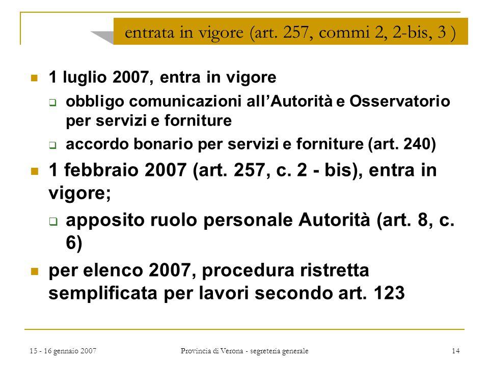 15 - 16 gennaio 2007 Provincia di Verona - segreteria generale 14 entrata in vigore (art. 257, commi 2, 2-bis, 3 ) 1 luglio 2007, entra in vigore  ob