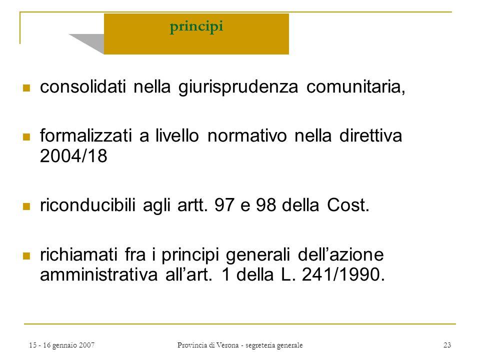 15 - 16 gennaio 2007 Provincia di Verona - segreteria generale 23 principi consolidati nella giurisprudenza comunitaria, formalizzati a livello normat