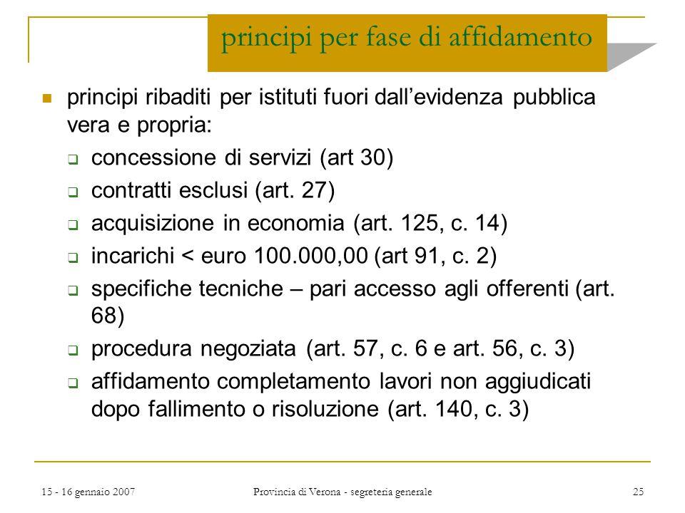 15 - 16 gennaio 2007 Provincia di Verona - segreteria generale 25 principi per fase di affidamento principi ribaditi per istituti fuori dall'evidenza