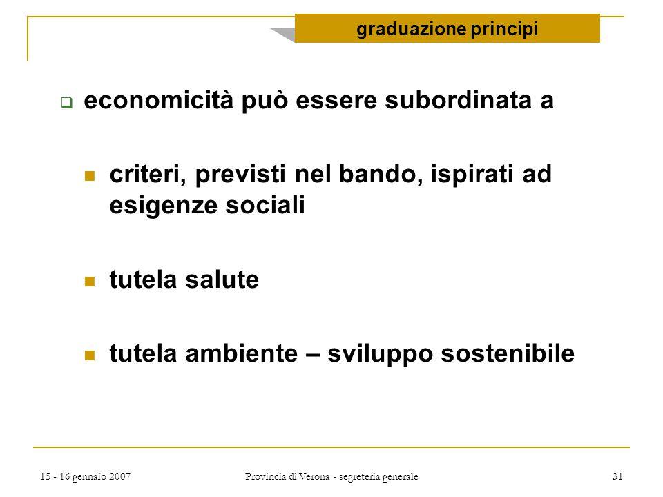 15 - 16 gennaio 2007 Provincia di Verona - segreteria generale 31  economicità può essere subordinata a criteri, previsti nel bando, ispirati ad esig