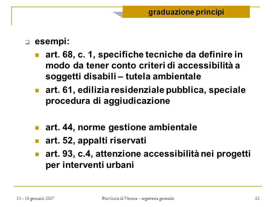 15 - 16 gennaio 2007 Provincia di Verona - segreteria generale 32  esempi: art. 68, c. 1, specifiche tecniche da definire in modo da tener conto crit