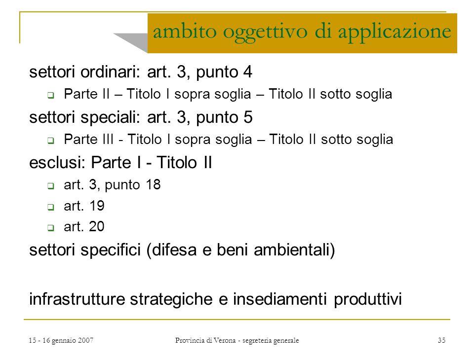 15 - 16 gennaio 2007 Provincia di Verona - segreteria generale 35 ambito oggettivo di applicazione settori ordinari: art. 3, punto 4  Parte II – Tito