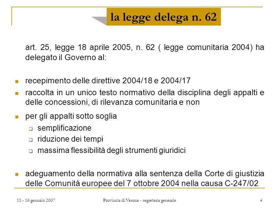 15 - 16 gennaio 2007 Provincia di Verona - segreteria generale 25 principi per fase di affidamento principi ribaditi per istituti fuori dall'evidenza pubblica vera e propria:  concessione di servizi (art 30)  contratti esclusi (art.
