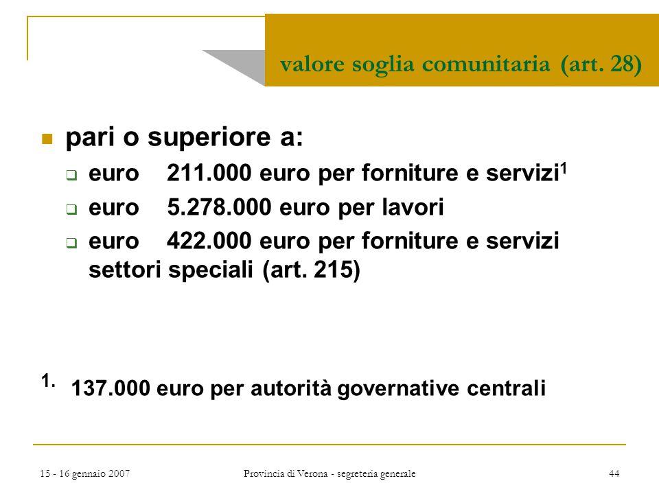 15 - 16 gennaio 2007 Provincia di Verona - segreteria generale 44 valore soglia comunitaria (art. 28) pari o superiore a:  euro 211.000 euro per forn