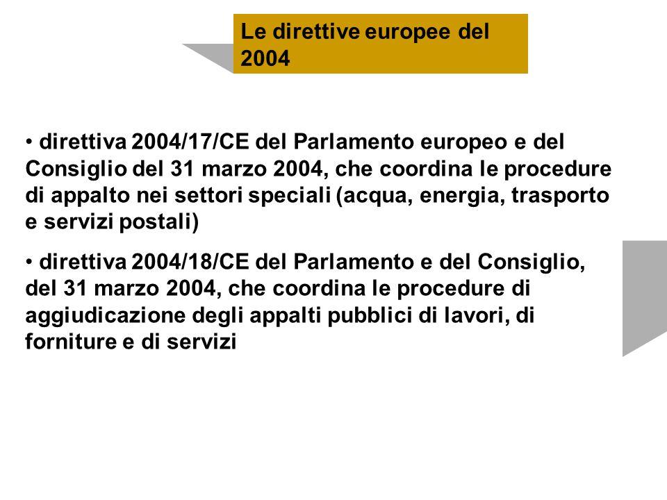 direttiva 2004/17/CE del Parlamento europeo e del Consiglio del 31 marzo 2004, che coordina le procedure di appalto nei settori speciali (acqua, energ