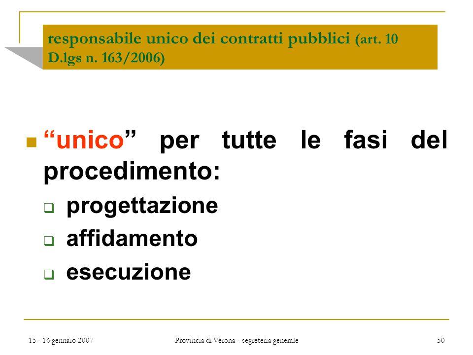 """15 - 16 gennaio 2007 Provincia di Verona - segreteria generale 50 responsabile unico dei contratti pubblici (art. 10 D.lgs n. 163/2006) """"unico"""" per tu"""