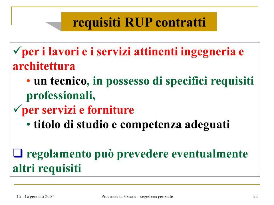 15 - 16 gennaio 2007 Provincia di Verona - segreteria generale 52 per i lavori e i servizi attinenti ingegneria e architettura un tecnico, in possesso