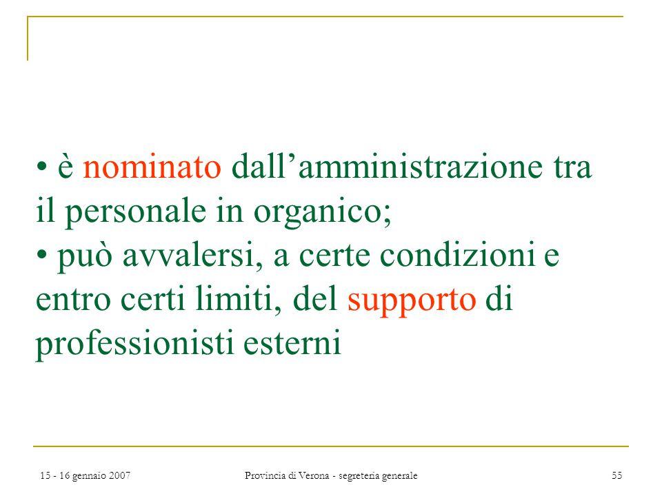15 - 16 gennaio 2007 Provincia di Verona - segreteria generale 55 è nominato dall'amministrazione tra il personale in organico; può avvalersi, a certe