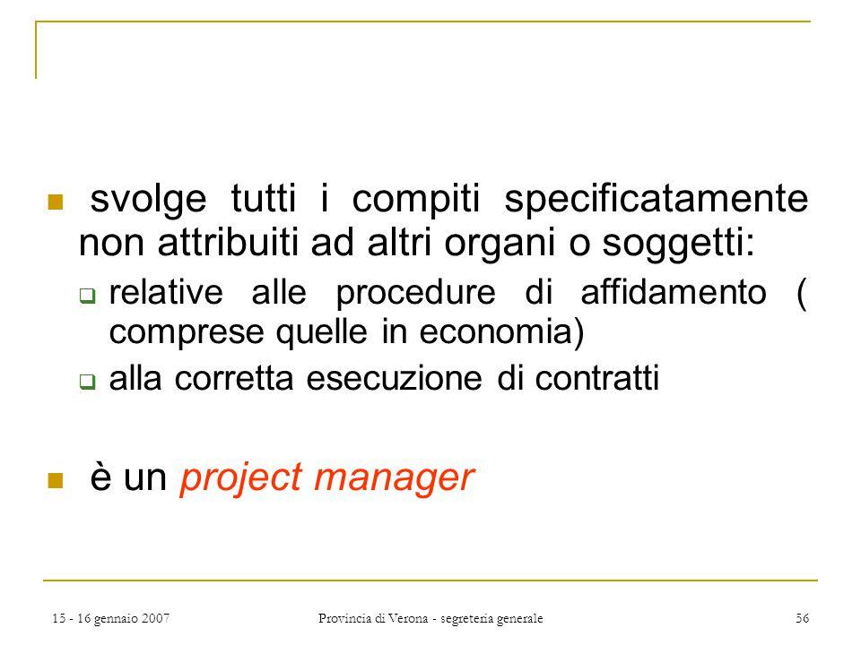 15 - 16 gennaio 2007 Provincia di Verona - segreteria generale 56 svolge tutti i compiti specificatamente non attribuiti ad altri organi o soggetti: 