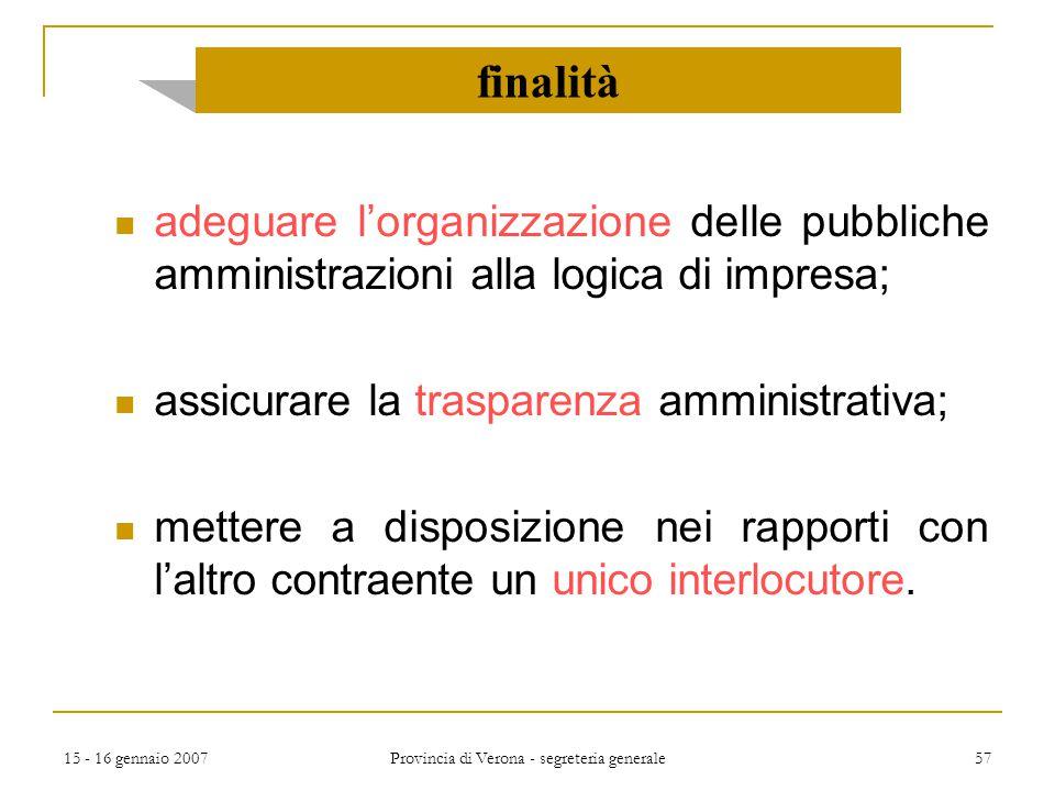 15 - 16 gennaio 2007 Provincia di Verona - segreteria generale 57 adeguare l'organizzazione delle pubbliche amministrazioni alla logica di impresa; as