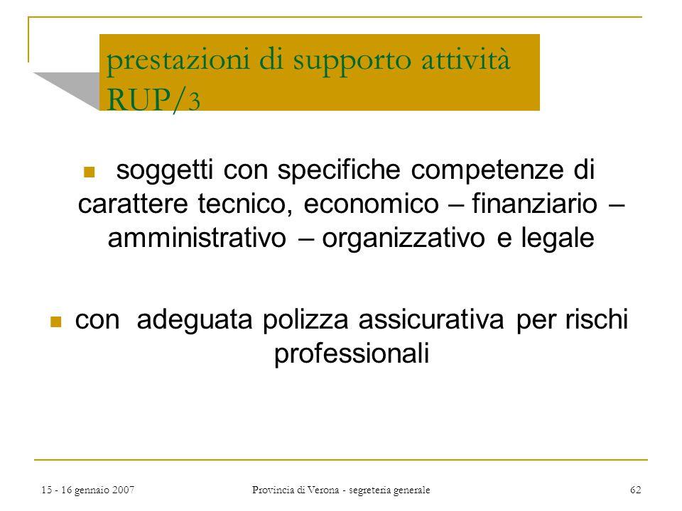15 - 16 gennaio 2007 Provincia di Verona - segreteria generale 62 prestazioni di supporto attività RUP/ 3 soggetti con specifiche competenze di caratt
