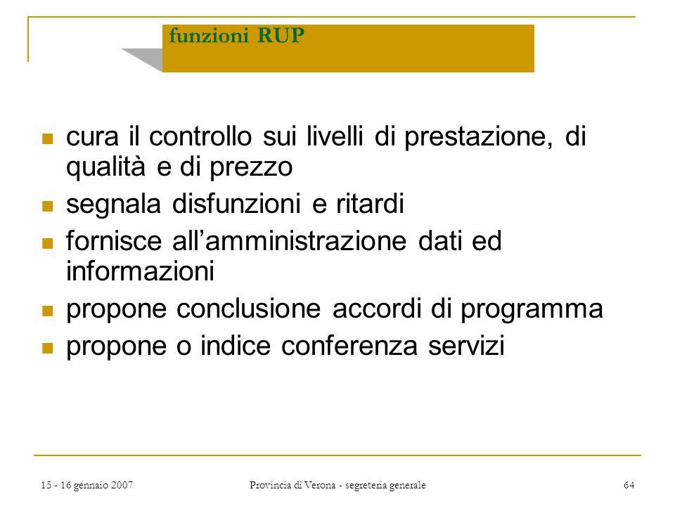 15 - 16 gennaio 2007 Provincia di Verona - segreteria generale 64 cura il controllo sui livelli di prestazione, di qualità e di prezzo segnala disfunz