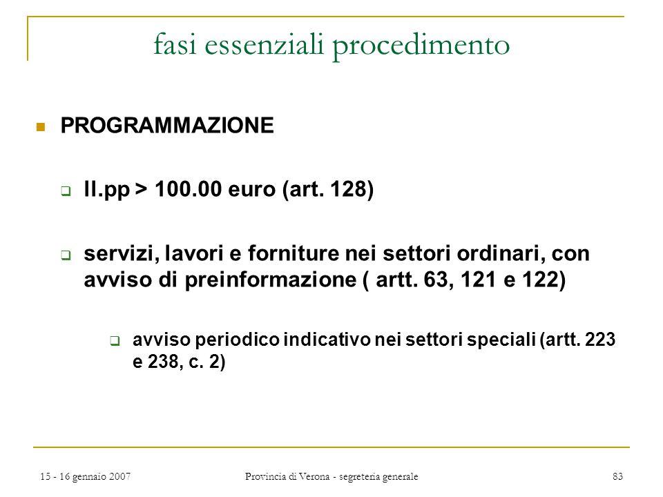 15 - 16 gennaio 2007 Provincia di Verona - segreteria generale 83 fasi essenziali procedimento PROGRAMMAZIONE  ll.pp > 100.00 euro (art. 128)  servi