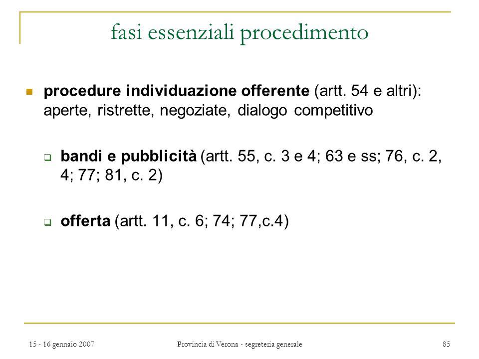 15 - 16 gennaio 2007 Provincia di Verona - segreteria generale 85 fasi essenziali procedimento procedure individuazione offerente (artt. 54 e altri):
