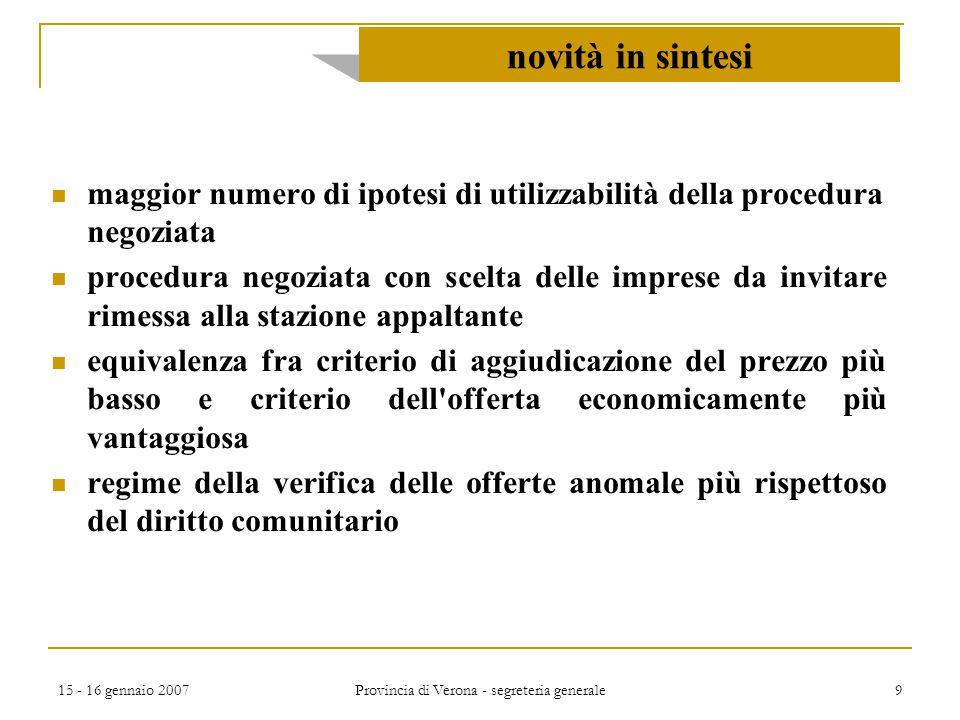 15 - 16 gennaio 2007 Provincia di Verona - segreteria generale 110 segue … accordo quadro Accordo quadro concluso con un solo operatore economico Gli appalti sono aggiudicati entro i limiti delle condizioni fissate nell accordo quadro.