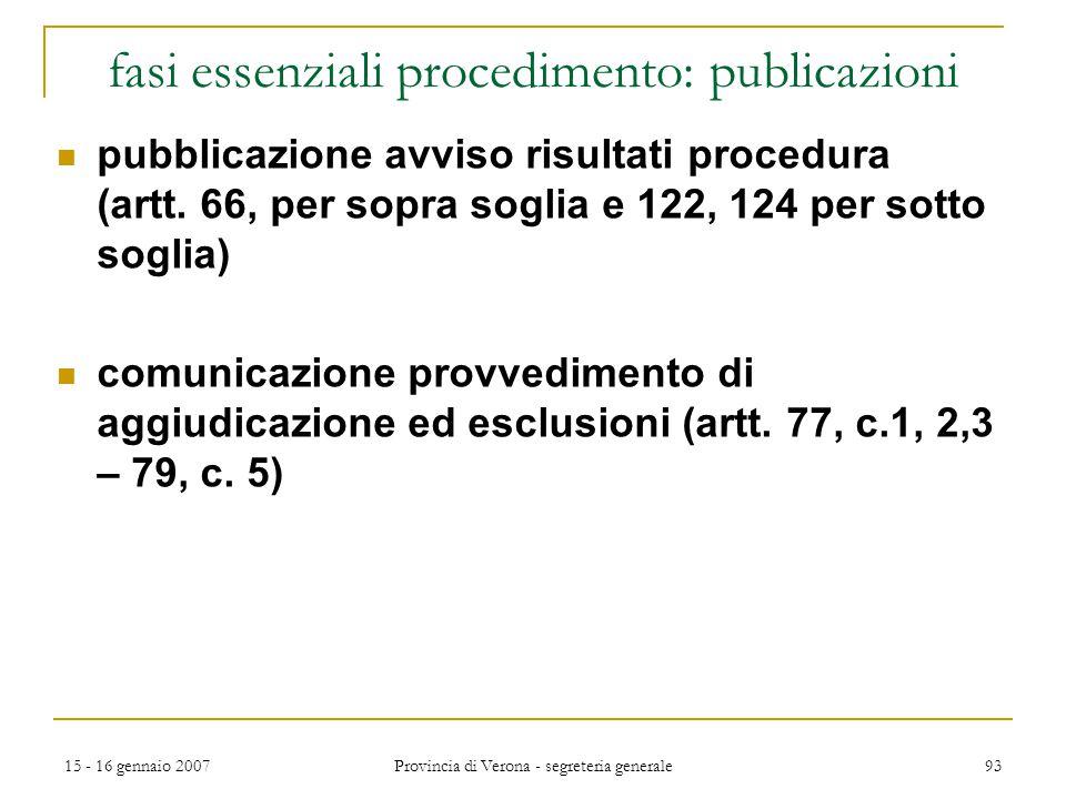 15 - 16 gennaio 2007 Provincia di Verona - segreteria generale 93 fasi essenziali procedimento: publicazioni pubblicazione avviso risultati procedura