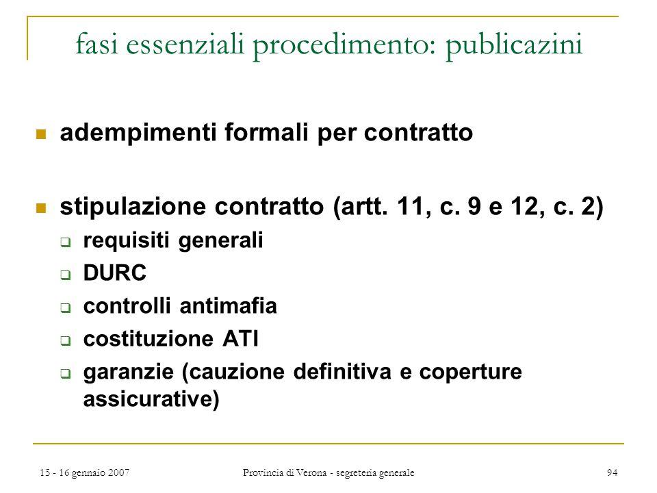 15 - 16 gennaio 2007 Provincia di Verona - segreteria generale 94 fasi essenziali procedimento: publicazini adempimenti formali per contratto stipulaz