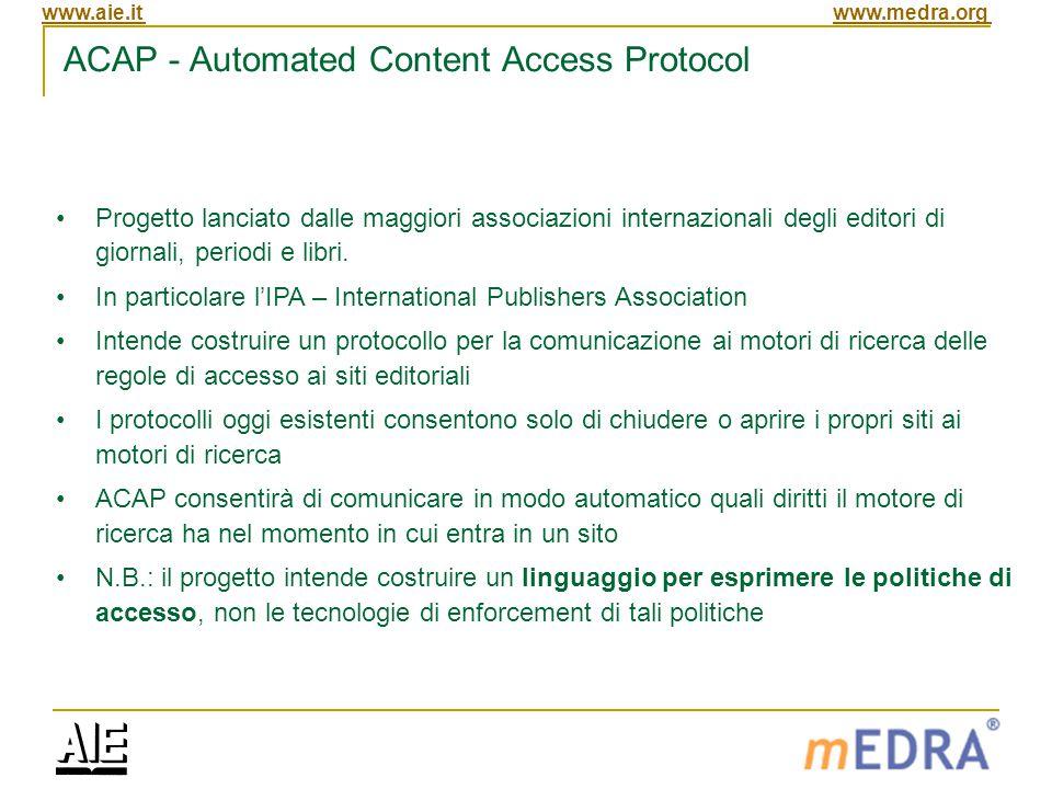 www.aie.itwww.medra.org ACAP - Automated Content Access Protocol Progetto lanciato dalle maggiori associazioni internazionali degli editori di giornali, periodi e libri.