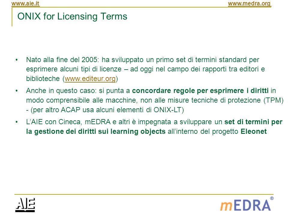 www.aie.itwww.medra.org ONIX for Licensing Terms Nato alla fine del 2005: ha sviluppato un primo set di termini standard per esprimere alcuni tipi di licenze – ad oggi nel campo dei rapporti tra editori e biblioteche (www.editeur.org)www.editeur.org Anche in questo caso: si punta a concordare regole per esprimere i diritti in modo comprensibile alle macchine, non alle misure tecniche di protezione (TPM) - (per altro ACAP usa alcuni elementi di ONIX-LT) L'AIE con Cineca, mEDRA e altri è impegnata a sviluppare un set di termini per la gestione dei diritti sui learning objects all'interno del progetto Eleonet