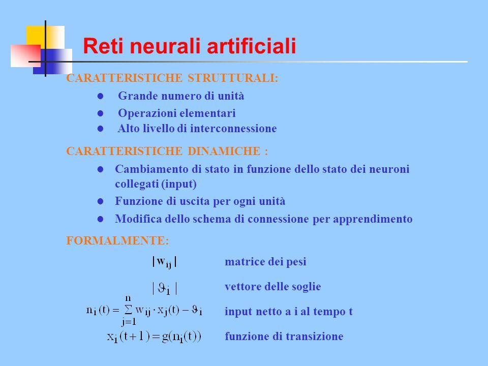 CARATTERISTICHE STRUTTURALI: Grande numero di unità Operazioni elementari Alto livello di interconnessione CARATTERISTICHE DINAMICHE : Cambiamento di