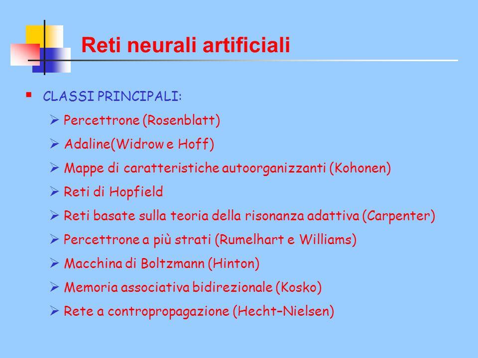 Reti neurali artificiali  CLASSI PRINCIPALI:  Percettrone (Rosenblatt)  Adaline(Widrow e Hoff)  Mappe di caratteristiche autoorganizzanti (Kohonen