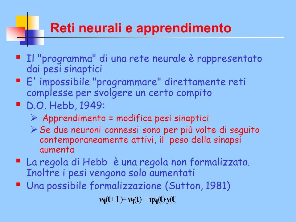 Reti neurali e apprendimento  Il