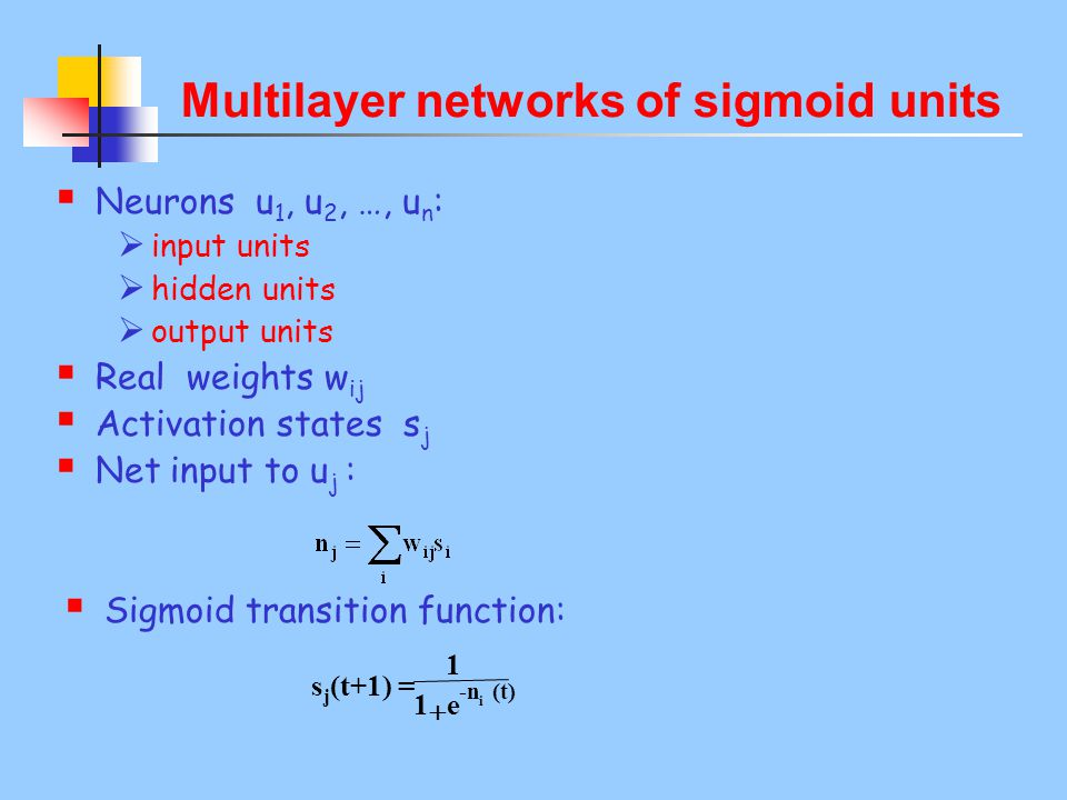 i -n (t) e1 1 s j (t+1) =  Multilayer networks of sigmoid units  Neurons u 1, u 2, …, u n :  input units  hidden units  output units  Real weights w ij  Activation states s j  Net input to u j :  Sigmoid transition function: