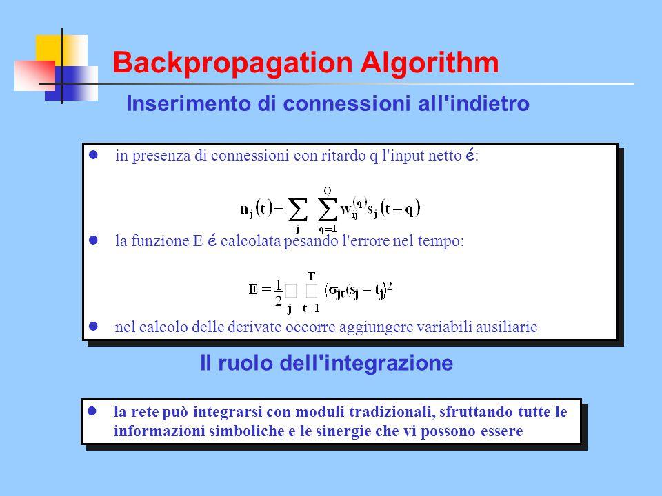 Il ruolo dell'integrazione in presenza di connessioni con ritardo q l'input netto é : la funzione E é calcolata pesando l'errore nel tempo: nel calcol