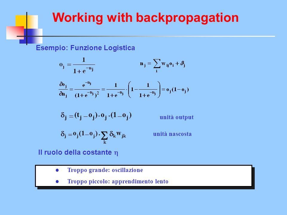 Esempio: Funzione Logistica )o(1o)o(t  jjjjj       k jkkjjj w  )o(1o  unità output unità nascosta Il ruolo della costante  l Troppo grand