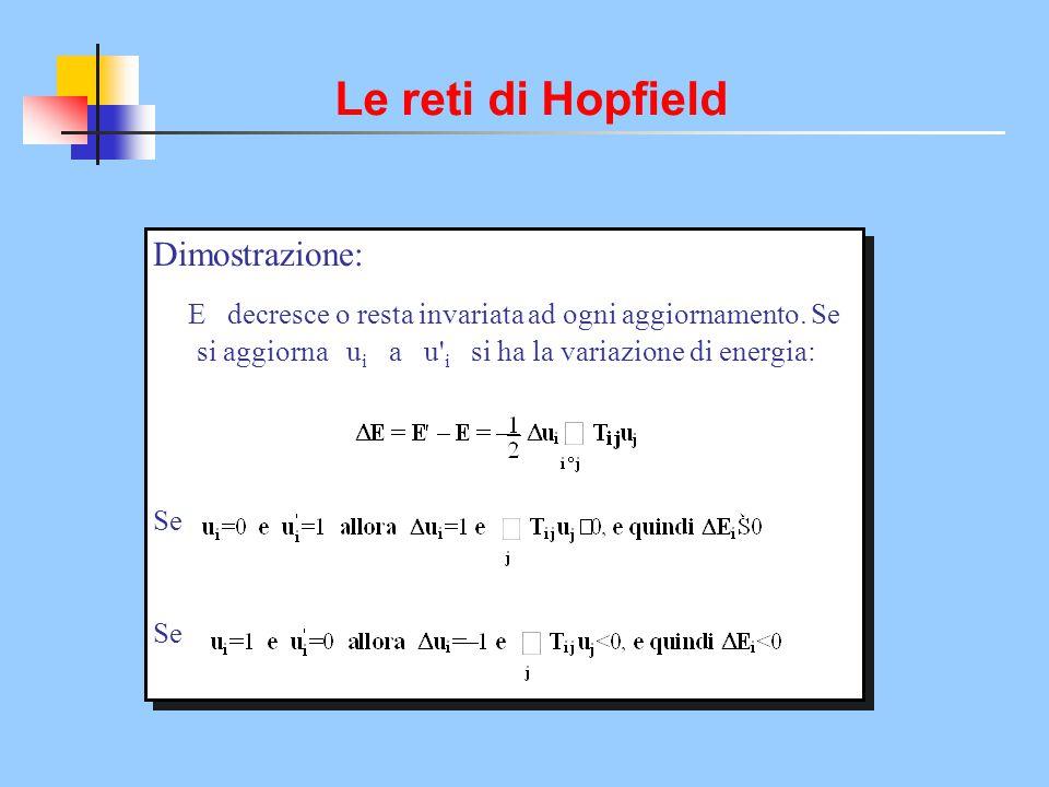 Le reti di Hopfield Dimostrazione: E decresce o resta invariata ad ogni aggiornamento. Se si aggiorna u i a u' i si ha la variazione di energia: Se Di