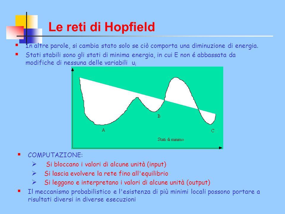 Le reti di Hopfield  In altre parole, si cambia stato solo se ciò comporta una diminuzione di energia.  Stati stabili sono gli stati di minima energ