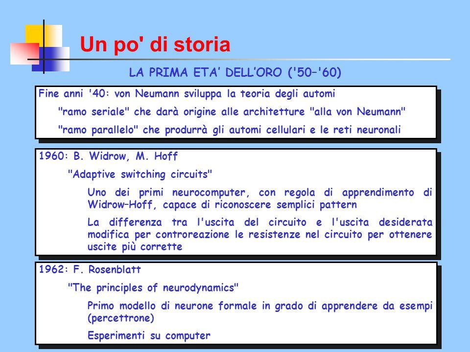 Un po' di storia LA PRIMA ETA' DELL'ORO ('50–'60) Fine anni '40: von Neumann sviluppa la teoria degli automi