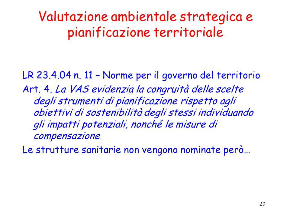 20 Valutazione ambientale strategica e pianificazione territoriale LR 23.4.04 n.