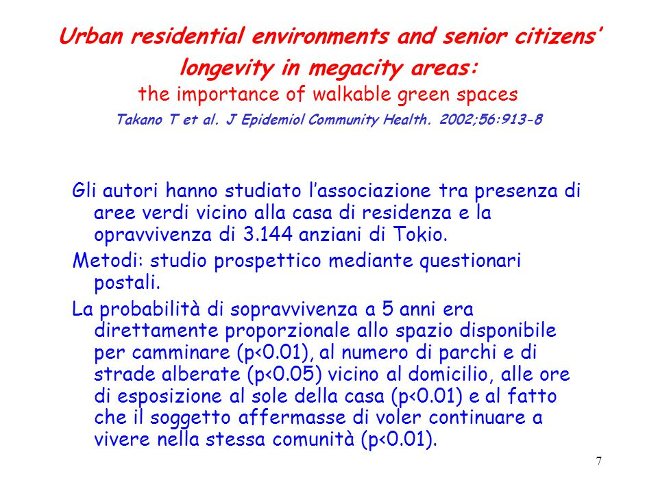 7 Urban residential environments and senior citizens' longevity in megacity areas: the importance of walkable green spaces Takano T et al.