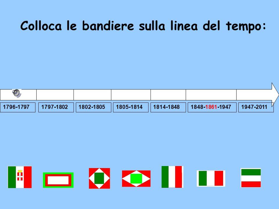 Colloca le bandiere sulla linea del tempo: 1796-17971797-18021805-18141814-18481947-20111802-18051848-1861-1947