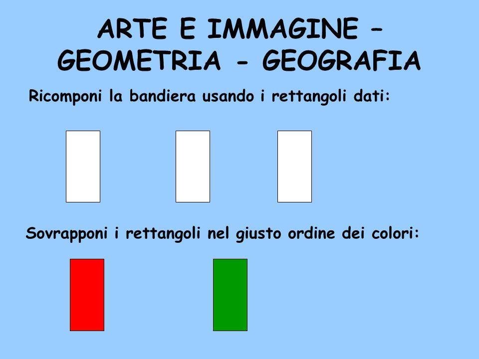 ARTE E IMMAGINE – GEOMETRIA - GEOGRAFIA Ricomponi la bandiera usando i rettangoli dati: Sovrapponi i rettangoli nel giusto ordine dei colori: