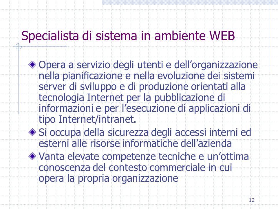 12 Specialista di sistema in ambiente WEB Opera a servizio degli utenti e dell'organizzazione nella pianificazione e nella evoluzione dei sistemi server di sviluppo e di produzione orientati alla tecnologia Internet per la pubblicazione di informazioni e per l'esecuzione di applicazioni di tipo Internet/intranet.