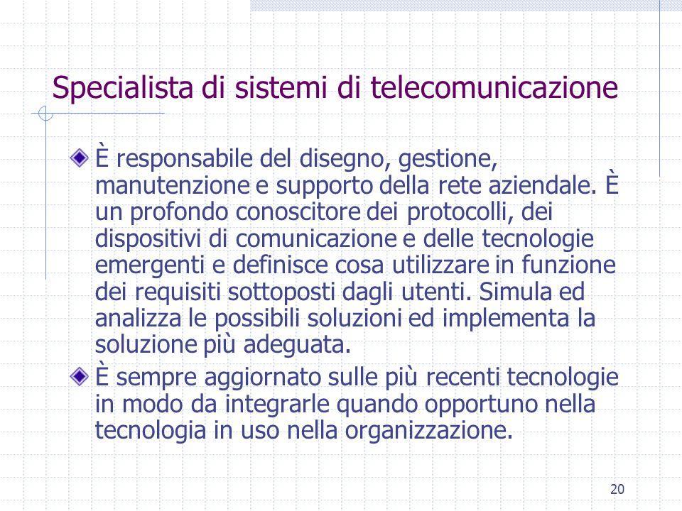 20 Specialista di sistemi di telecomunicazione È responsabile del disegno, gestione, manutenzione e supporto della rete aziendale. È un profondo conos