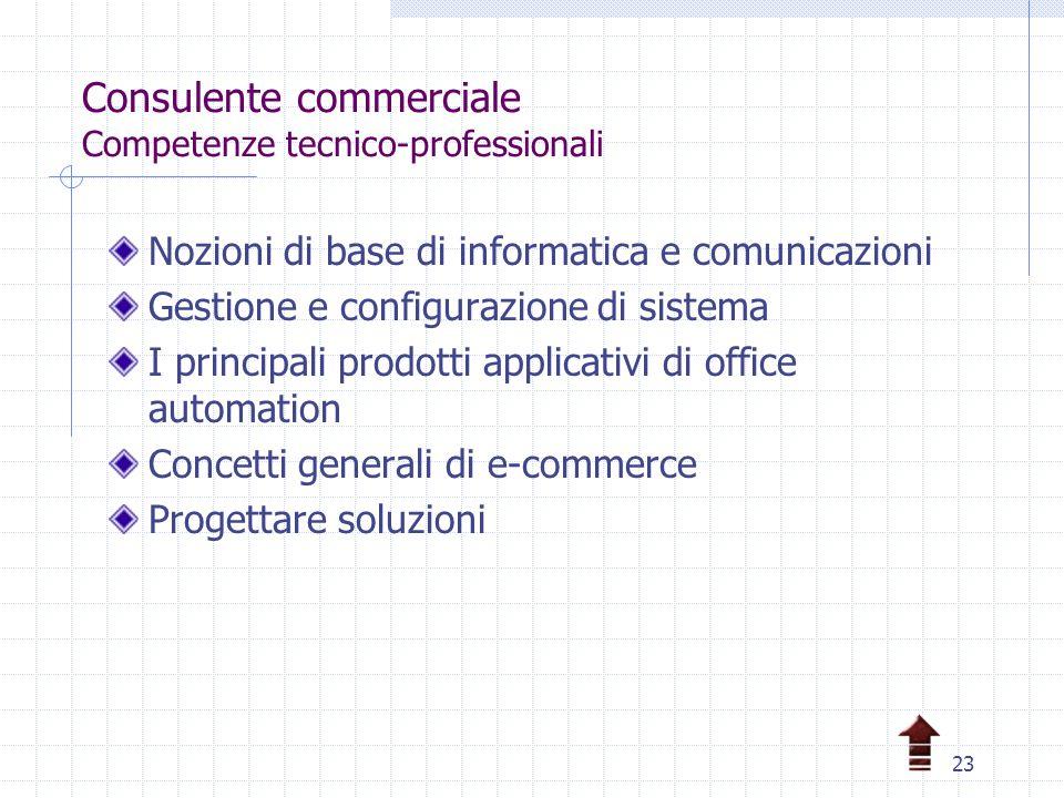 23 Consulente commerciale Competenze tecnico-professionali Nozioni di base di informatica e comunicazioni Gestione e configurazione di sistema I principali prodotti applicativi di office automation Concetti generali di e-commerce Progettare soluzioni