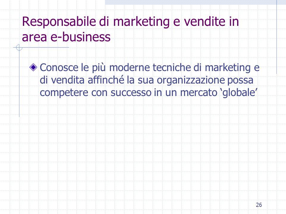 26 Responsabile di marketing e vendite in area e-business Conosce le più moderne tecniche di marketing e di vendita affinché la sua organizzazione possa competere con successo in un mercato 'globale'