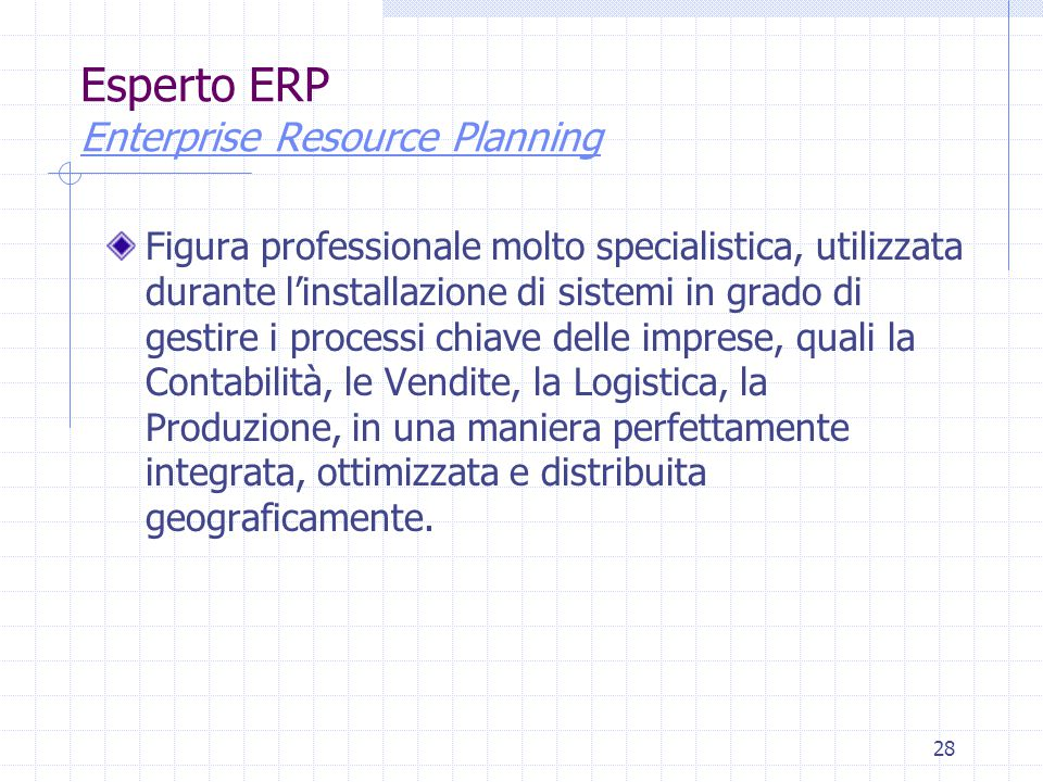 28 Esperto ERP Enterprise Resource Planning Enterprise Resource Planning Figura professionale molto specialistica, utilizzata durante l'installazione