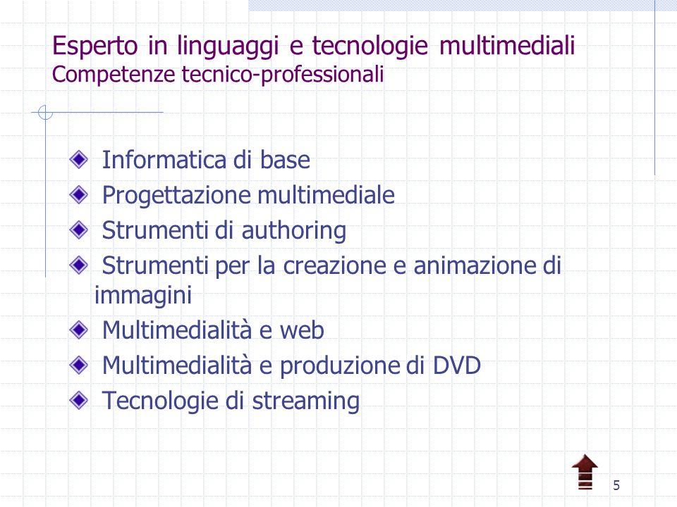 5 Esperto in linguaggi e tecnologie multimediali Competenze tecnico-professionali Informatica di base Progettazione multimediale Strumenti di authoring Strumenti per la creazione e animazione di immagini Multimedialità e web Multimedialità e produzione di DVD Tecnologie di streaming