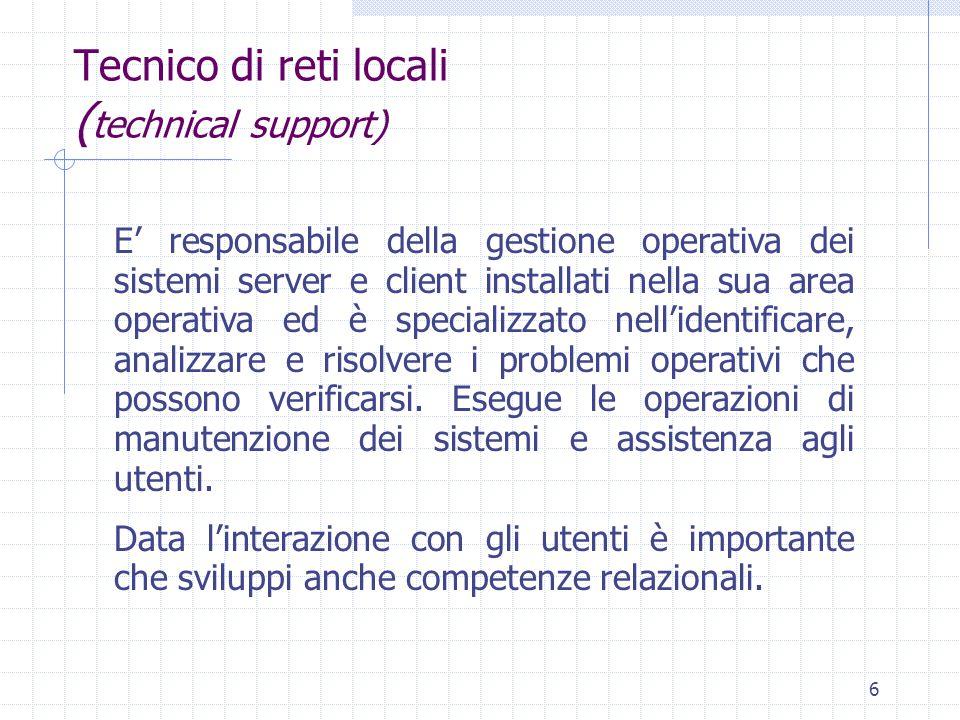 6 Tecnico di reti locali ( technical support) E' responsabile della gestione operativa dei sistemi server e client installati nella sua area operativa ed è specializzato nell'identificare, analizzare e risolvere i problemi operativi che possono verificarsi.
