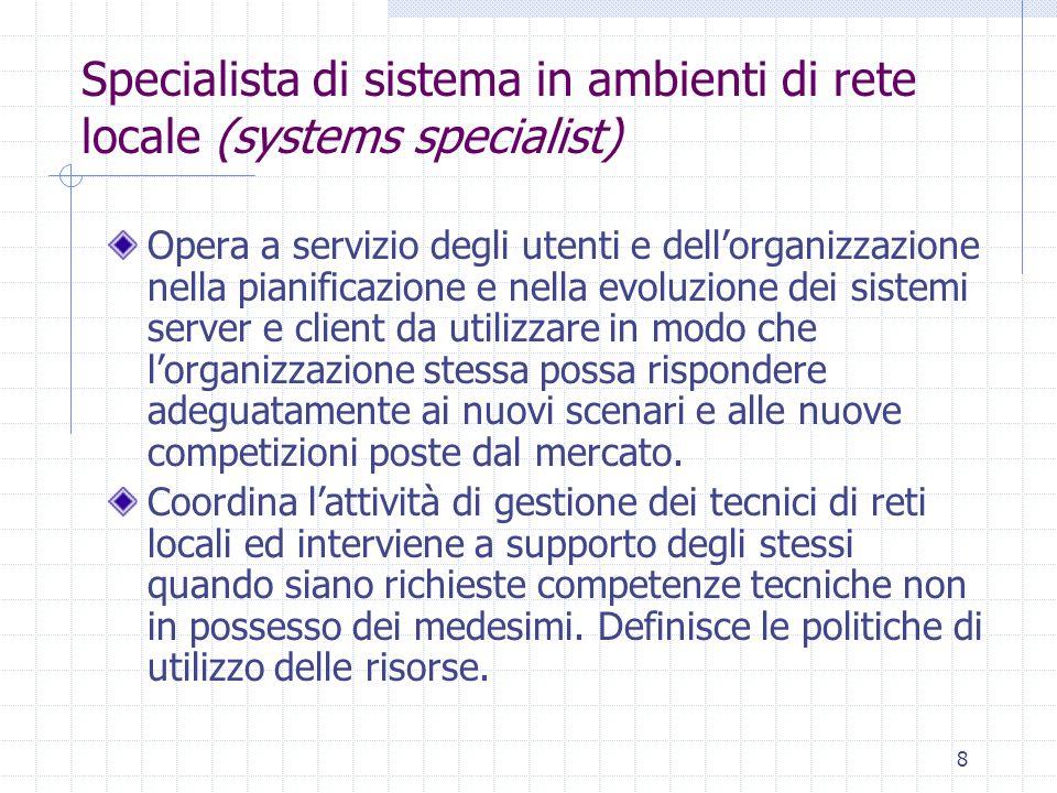 8 Specialista di sistema in ambienti di rete locale (systems specialist) Opera a servizio degli utenti e dell'organizzazione nella pianificazione e ne