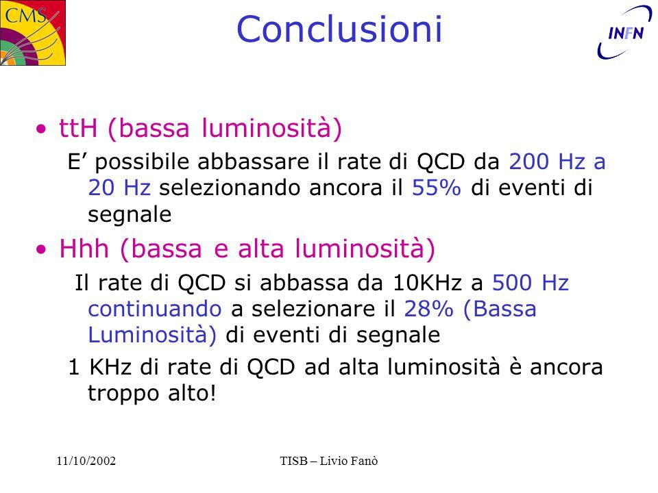 11/10/2002TISB – Livio Fanò Conclusioni ttH (bassa luminosità) E' possibile abbassare il rate di QCD da 200 Hz a 20 Hz selezionando ancora il 55% di eventi di segnale Hhh (bassa e alta luminosità) Il rate di QCD si abbassa da 10KHz a 500 Hz continuando a selezionare il 28% (Bassa Luminosità) di eventi di segnale 1 KHz di rate di QCD ad alta luminosità è ancora troppo alto!